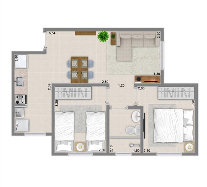 47m² com 2 dormitórios
