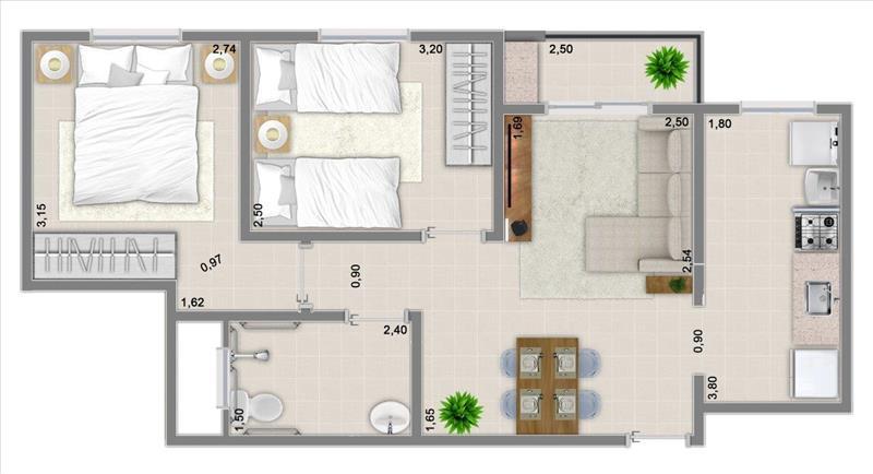 51m² com 2 dormitórios e varanda