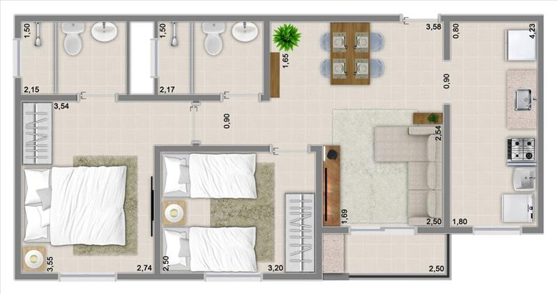 57m² com 2 dormitórios, suíte e varanda