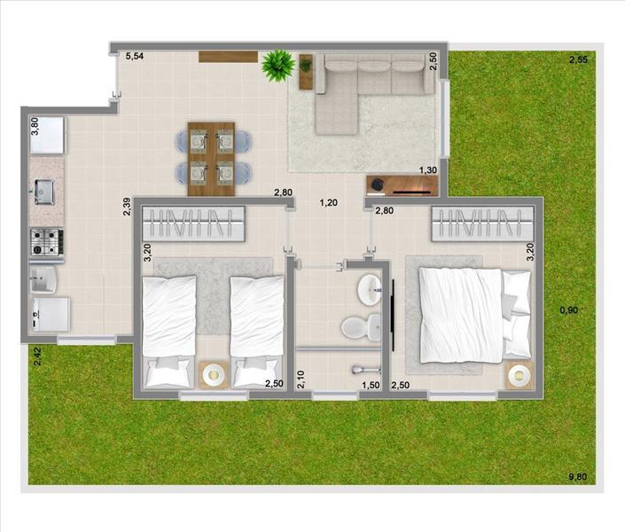 47m² com 2 dormitórios + garden de 25,56m²