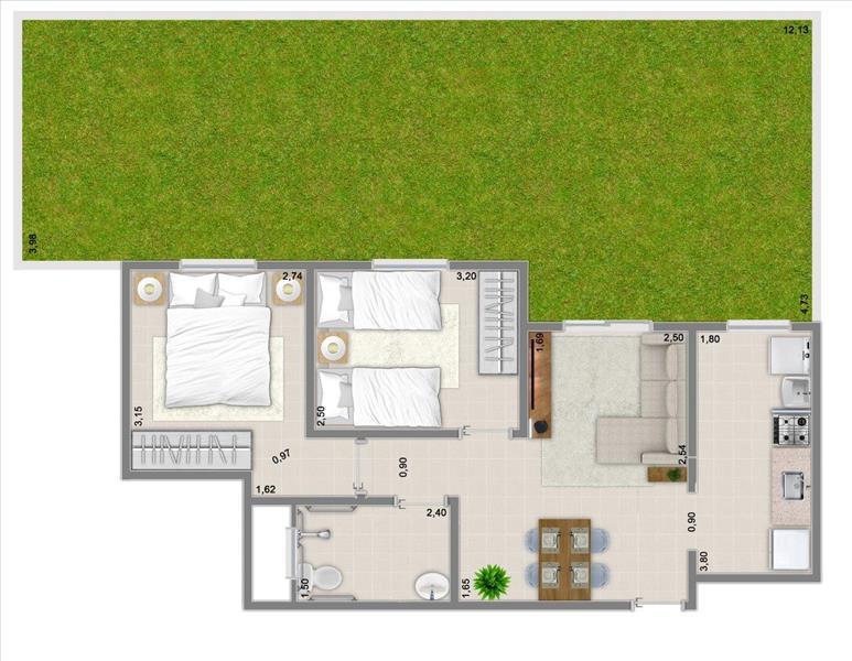 51m² com 2 dormitórios e varanda + garden de 20,30m²