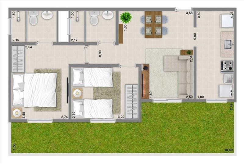 57m² com 2 dormitórios, suíte e varanda + garden de 50,04m²
