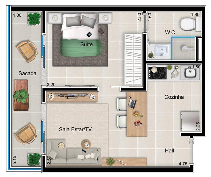 Apto 1 dormitório